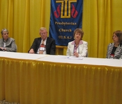 Moderator Cynthia Bolbach, Stated Clerk Gradye Parsons, the Rev. Sharon Stanley, and the Rev. Fairfax Fair