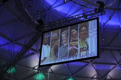 A phot of the screen in the plenary roon